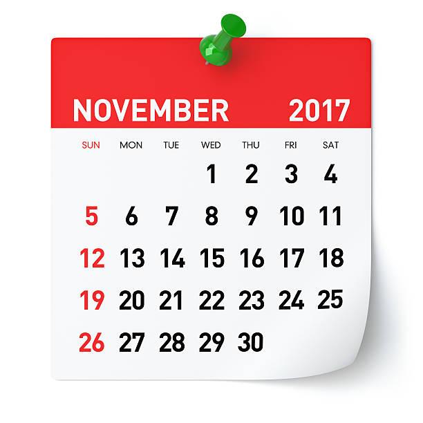 November 2017 - Calendar - foto de acervo