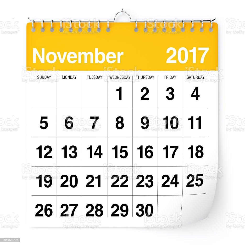 De Novembro de 2017 - calendário foto de stock royalty-free