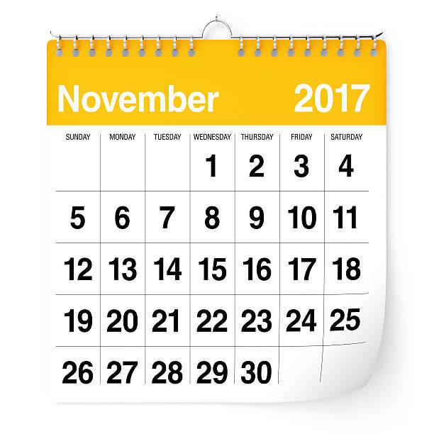 Novembro de 2017 - calendário - foto de acervo
