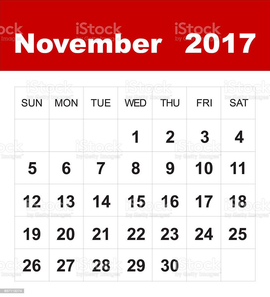november 2017 calendar royalty free stock photo