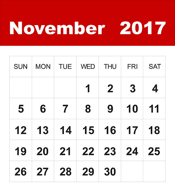 Novembro de 2017 calendário - foto de acervo