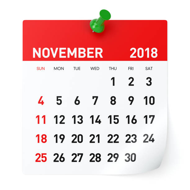November 2018 - Calendar November 2018 - Calendar. Isolated on White Background. 3D Illustration november stock pictures, royalty-free photos & images