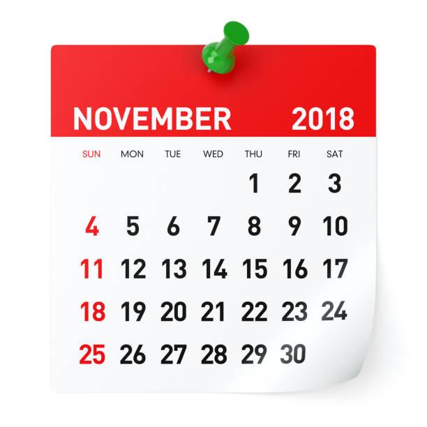 Novembro de 2018 - calendário - foto de acervo