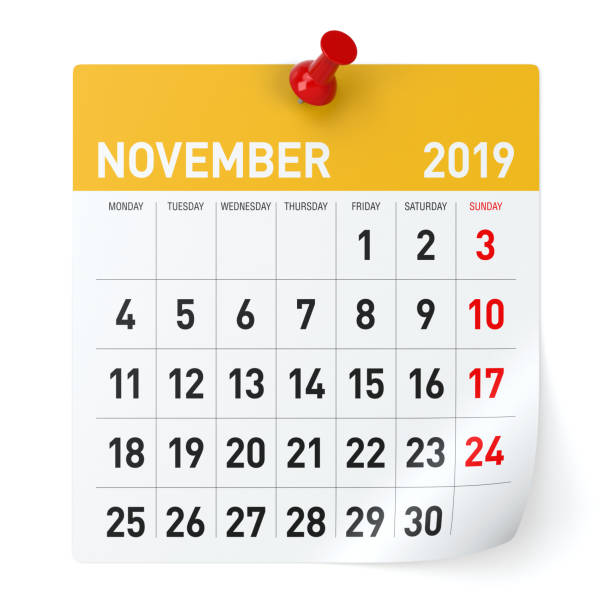 November 2019 - Calendar. November 2019 - Calendar. Isolated on White Background. 3D Illustration november stock pictures, royalty-free photos & images