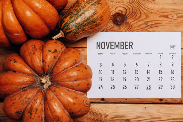 November 2019 monthly calendar View from above to simple November 2019 calendar decorated with pumpkin muziekfestival stock pictures, royalty-free photos & images