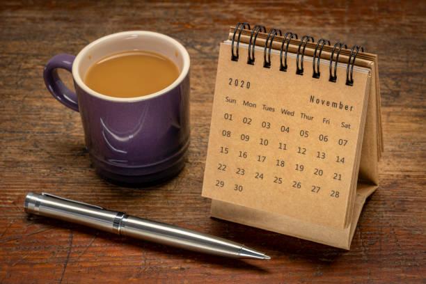 November 2020 - spiral desktop calendar stock photo