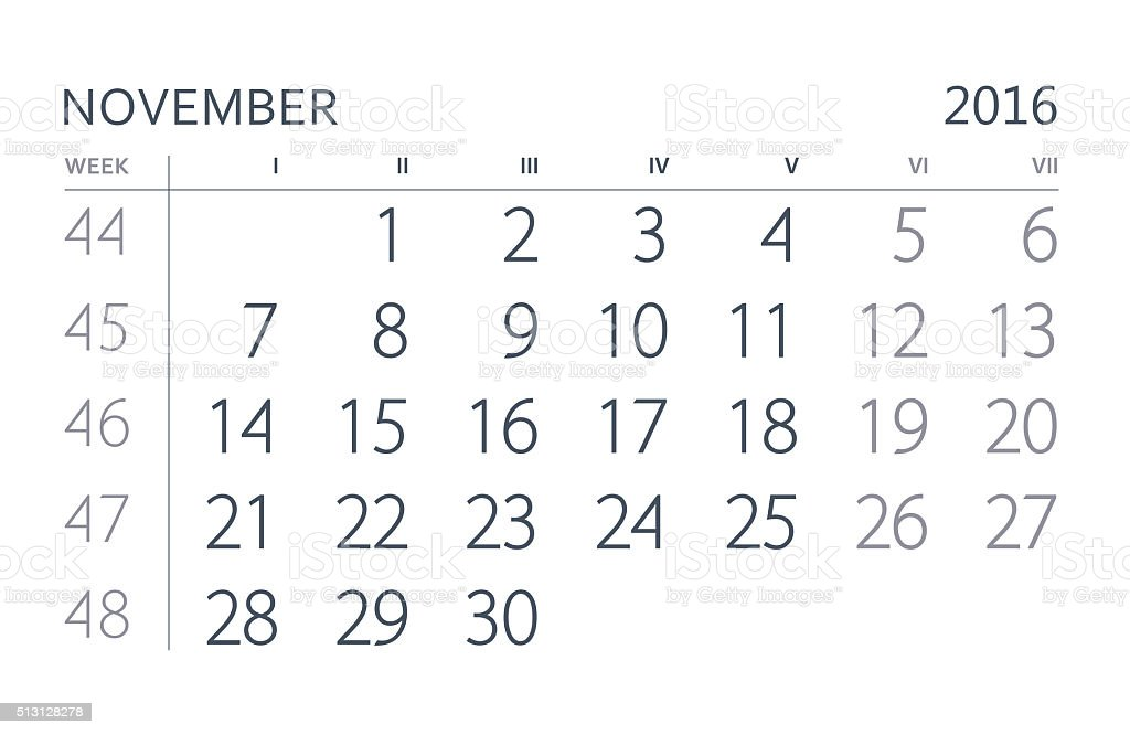 November. Calendar of the year two thousand sixteen. stock photo