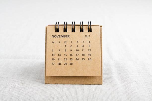 Novembro. Folha de calendário. - foto de acervo
