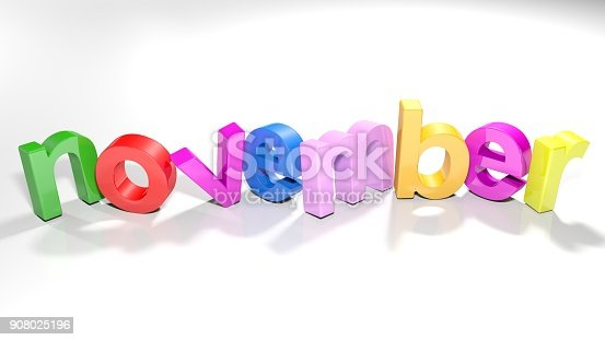 istock november colorful 3D write - 3D rendering 908025196