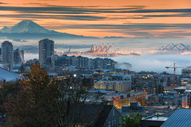 November Fog in Downtown Seattle stock photo
