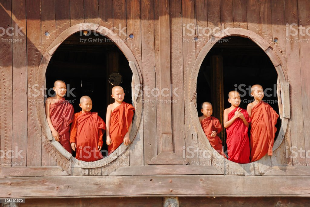 Novice monk class looking out of the window, Myanmar royalty-free stock photo