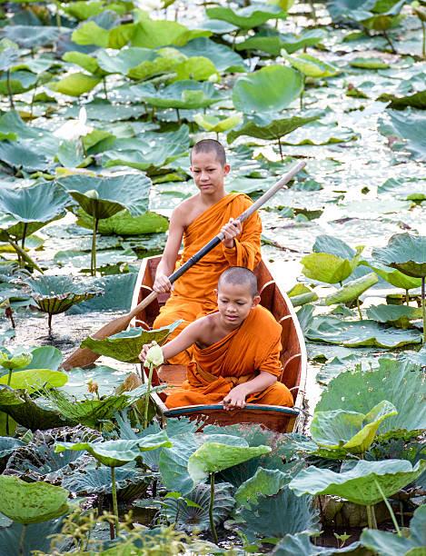 Novice Monk in Thailand stock photo
