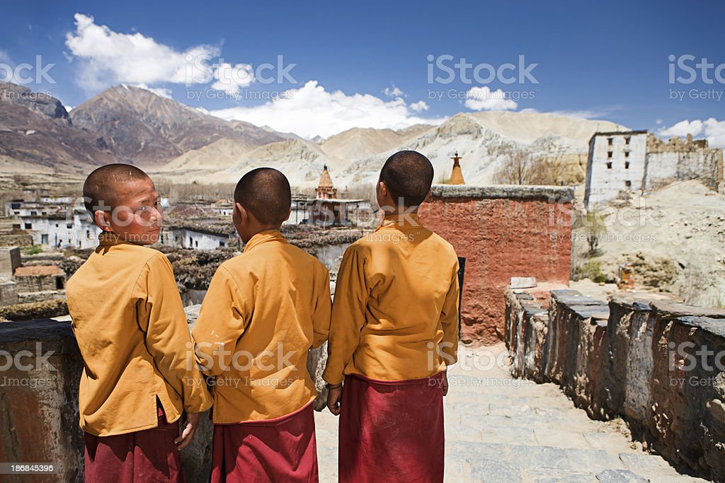 Novice monks in Tibetan monastery. Mustang. royalty-free stock photo