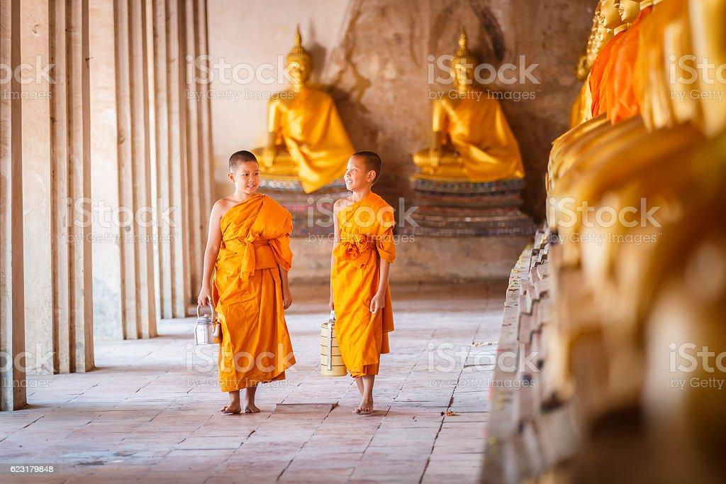 Novices at Ayutthaya Historical Park in Thailand stock photo