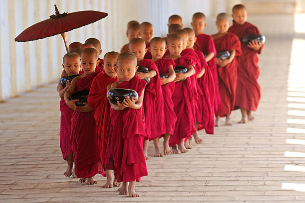 Novices from Bagan stock photo