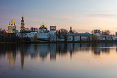 Novodevichy convent in Moscow at twilight evening. High quality photo