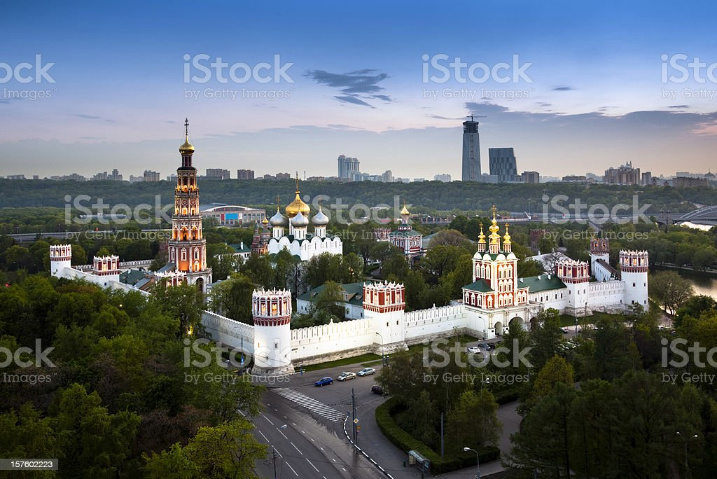 Novodevichy Convent in Moscow, Russia. Bird's eye view royalty-free stock photo