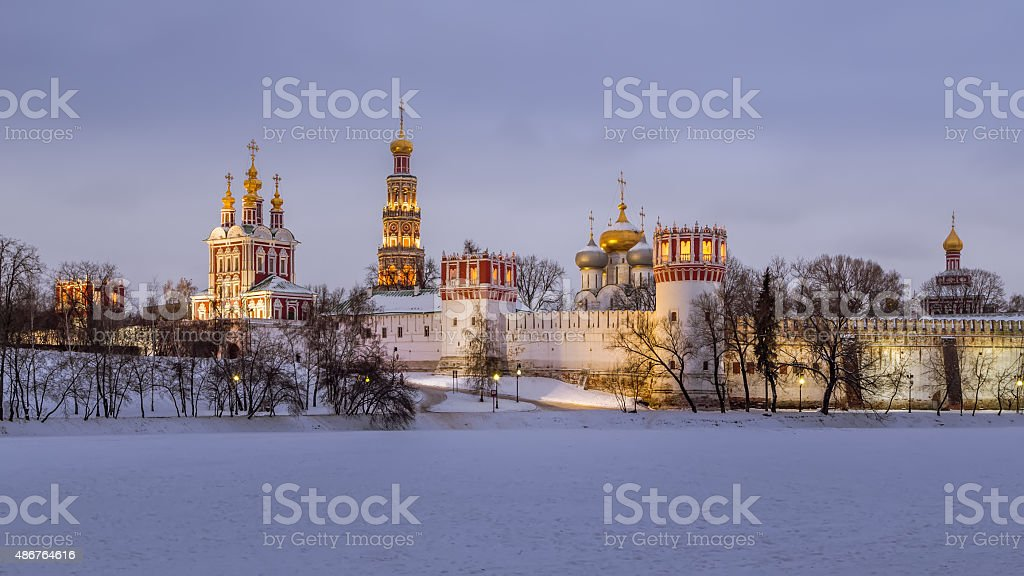 Novodevichy Convent winter evening stock photo