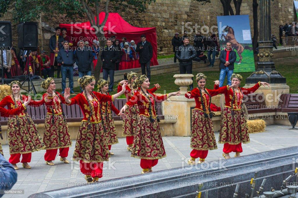 Novruz Celebration in Baku city stock photo