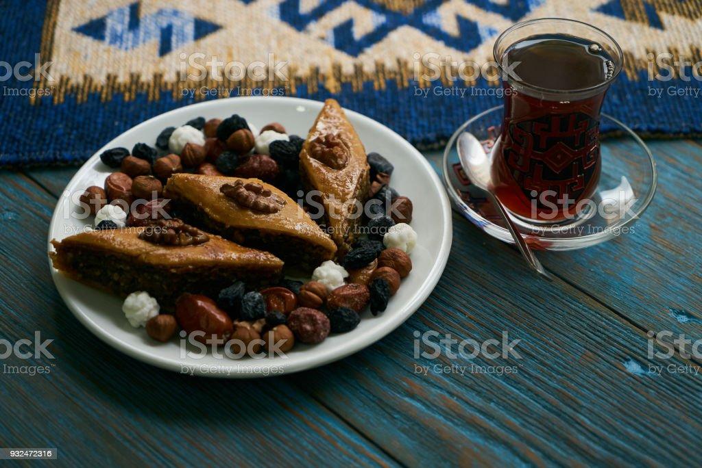 Novruz tray plate with Azerbaijan national pastry pakhlava stock photo