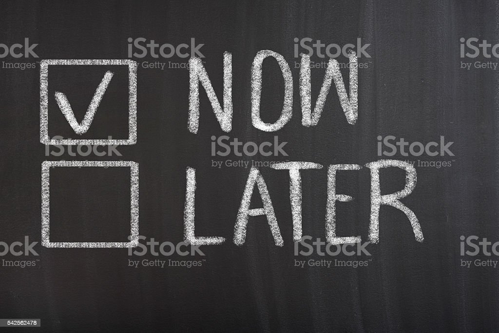 Now and Later Check Boxes Now and Later Check Boxes on blackboard Asking Stock Photo