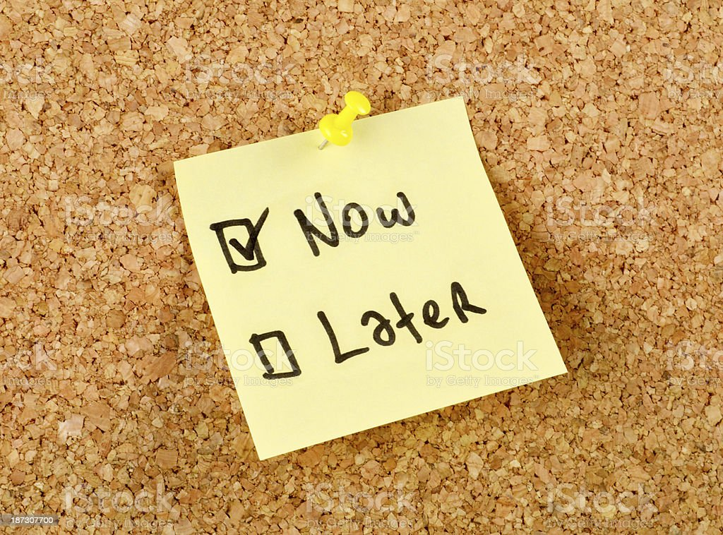 Now and Later Checkbox stock photo