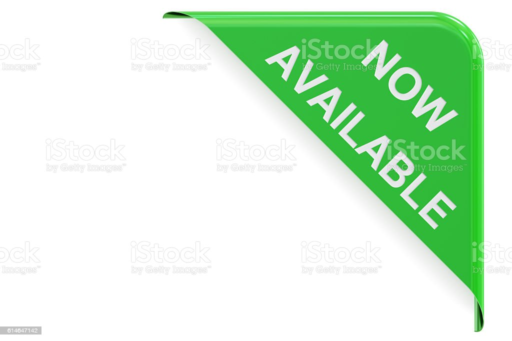 Now Available concept, green corner. 3D rendering stock photo