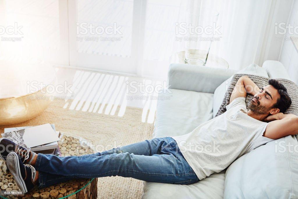 Jetzt für etwas Ruhe und Entspannung - Lizenzfrei Sofa Stock-Foto