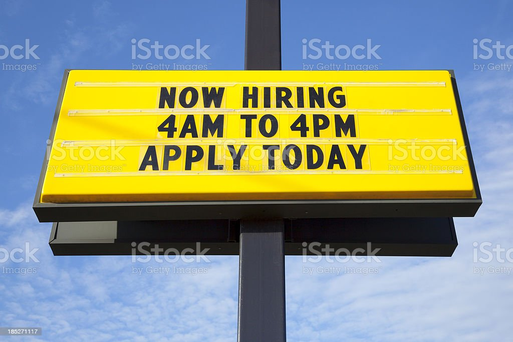Now Hiring; Apply Today Employment Opportunity Sign stock photo