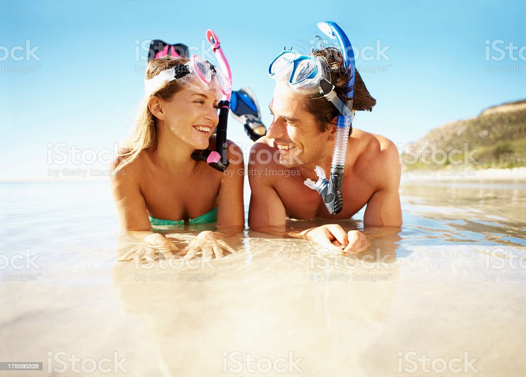 Now I'm ready for scuba diving stock photo