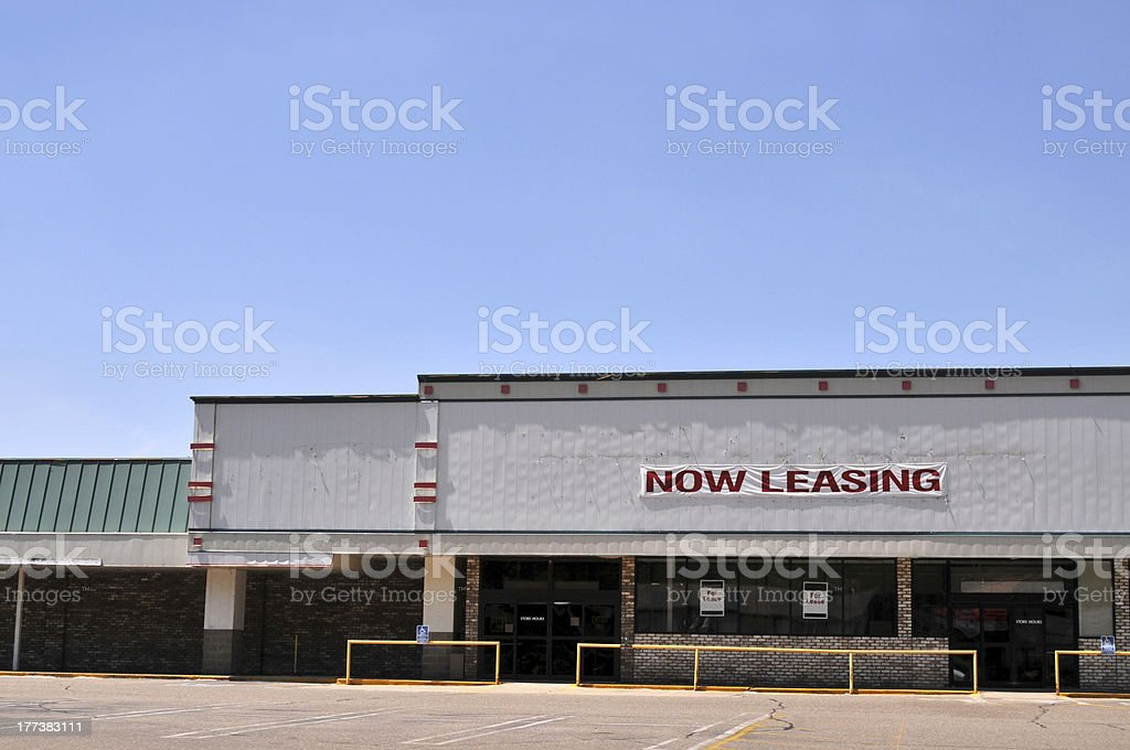 Now leasing sign on a shopping mall stock photo