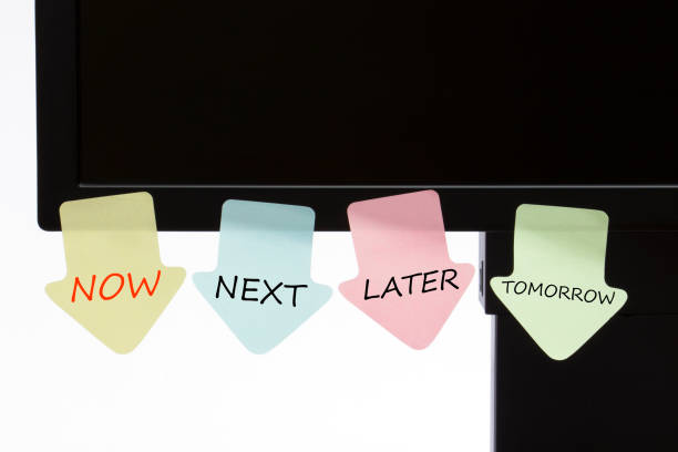 """Now Next Later written on notes Reminder notes with text """"NOW,NEXT,LATER,TOMORROW """" message. lateral surface stock pictures, royalty-free photos & images"""