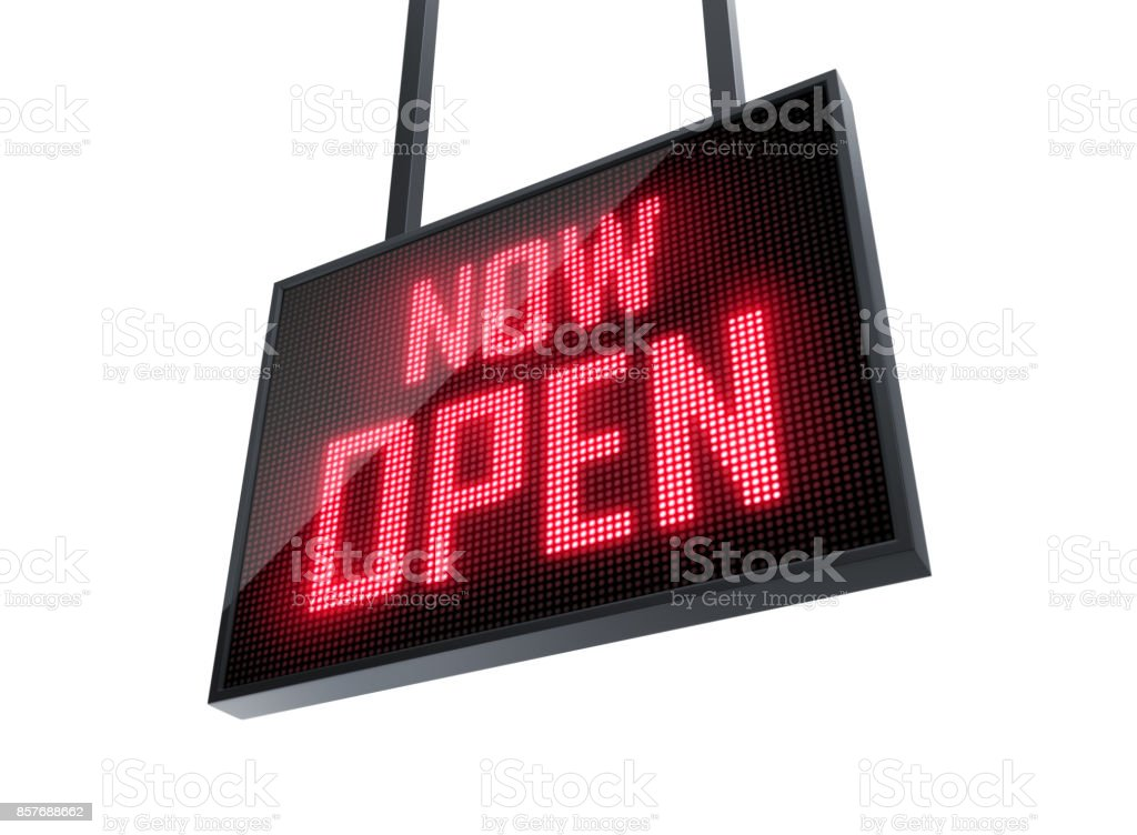 Now Open led sign stock photo