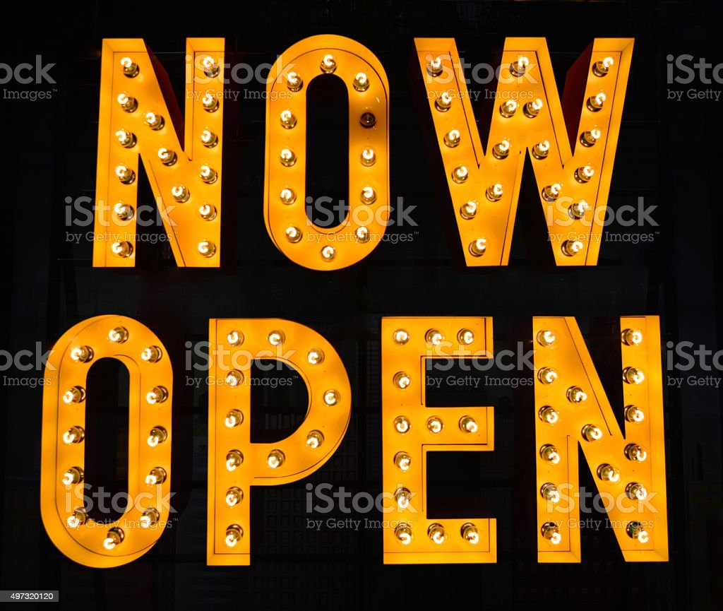 Now Open sign stock photo