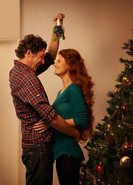 Now that I've got you under the mistletoe stock photo