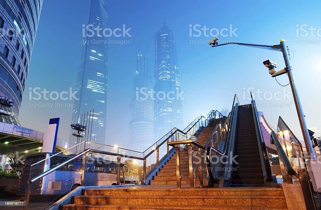 Now the city at night stock photo