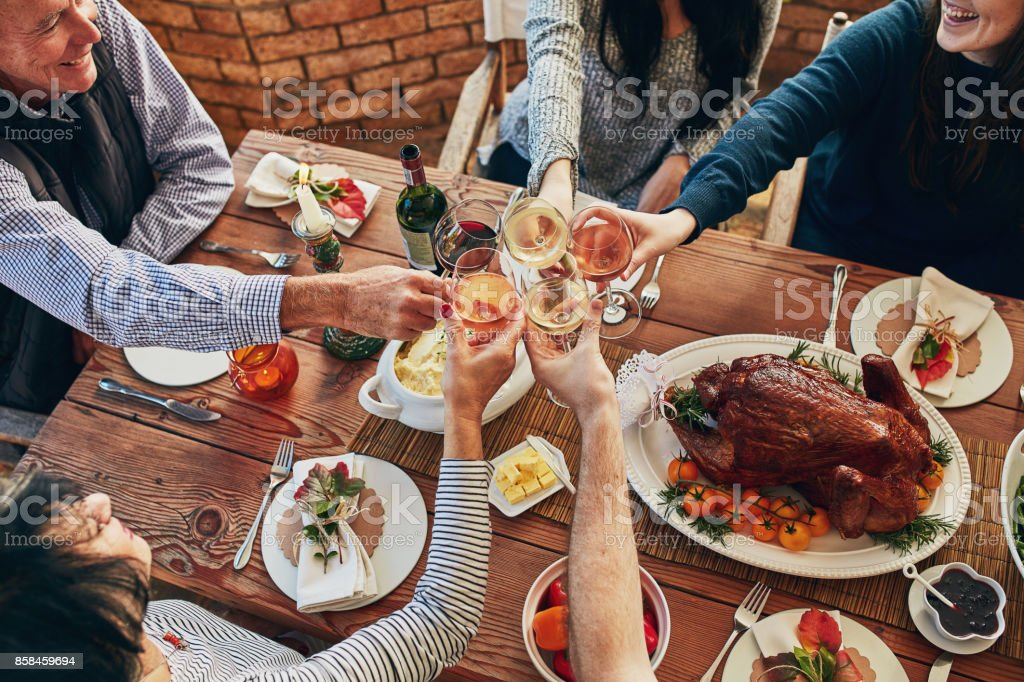 Now this is our kind of Thanksgiving meal stock photo