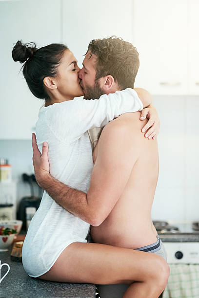 Semi Nude Romantic Couple Kissing Stock Photos, Pictures -3294