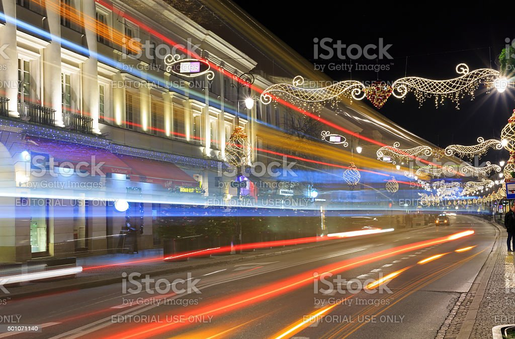 Nowy Swiat Street at night decked with with festive decorations stock photo