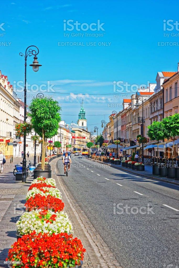 Nowy Swiat Street in Warsaw stock photo