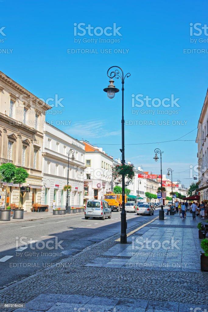 Nowy Swiat Street of Warsaw stock photo