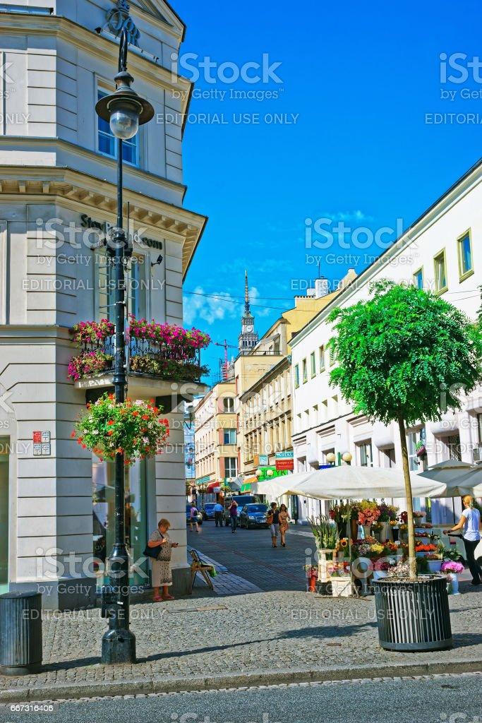 Nowy Swiat Street Warsaw stock photo