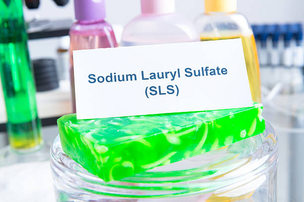Noxious Additives In Cosmetics Noxious additives in cosmetics, SLS. Laboratory with chemical substances. cobalt sulfate stock pictures, royalty-free photos & images