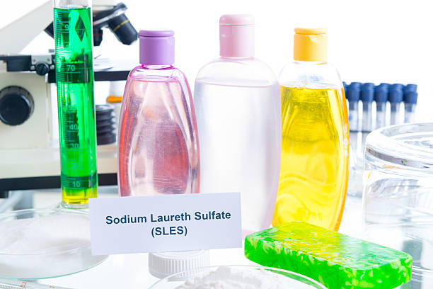 Noxious Additives In Cosmetics Noxious additives in cosmetics. Laboratory with chemical substances. cobalt sulfate stock pictures, royalty-free photos & images