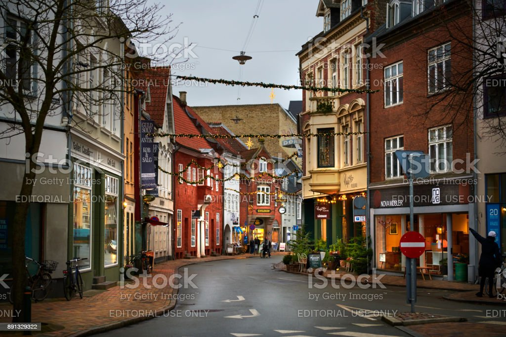 Nørregade (Noerregade) street in inner old city Odense stock photo