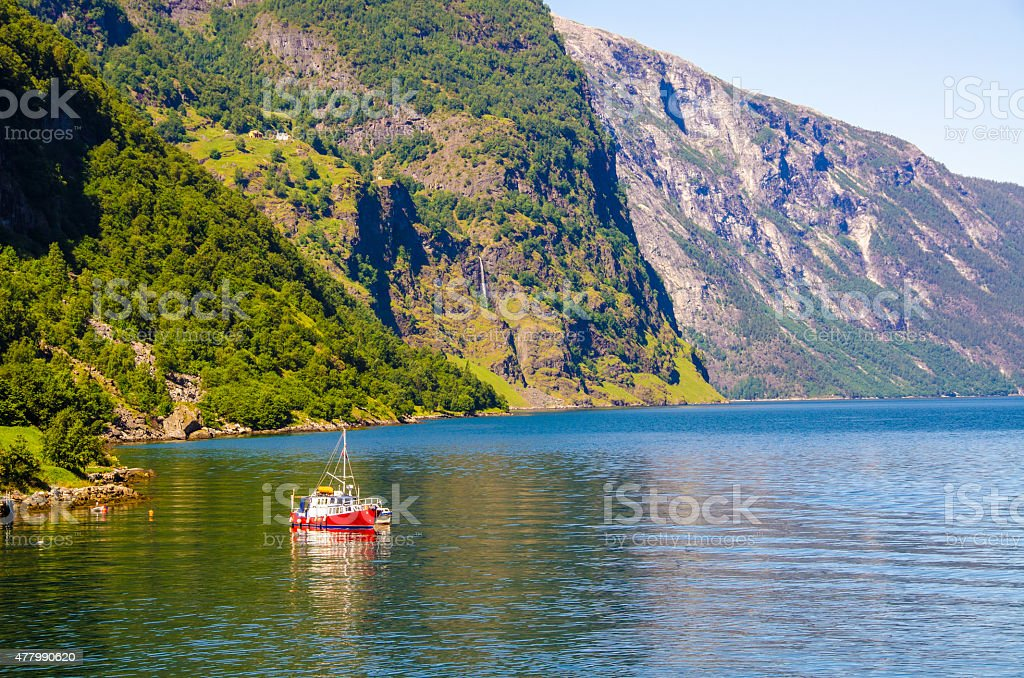 Nærøyfjord in Norway with a Ship stock photo
