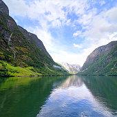 The Nærøyfjord (Nærøyfjorden) is a fjord, a branch of the large Sognefjord, Norway. Composite photo