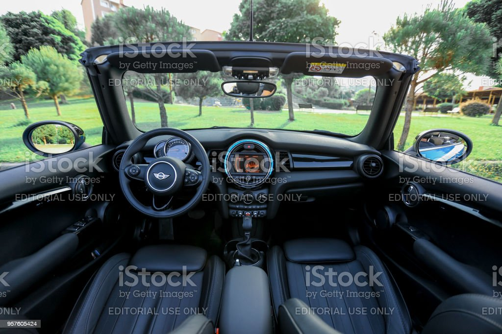 Inside View Of A Mint Condition Blue Mini Cooper S With Black