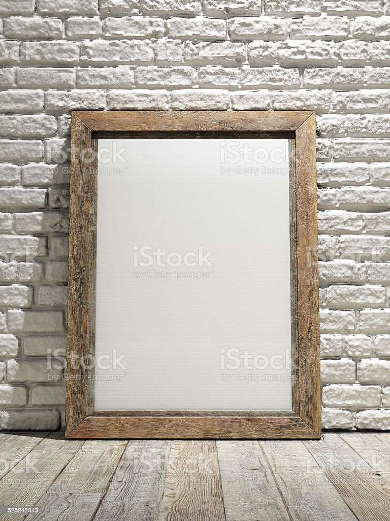 nterior eith frame poster background, white brick wall stock photo