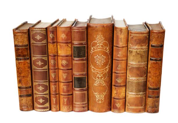 Аntique books on white background stock photo